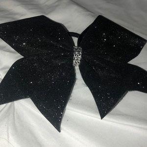 Stiff black glitter tick tick Cheer Bow